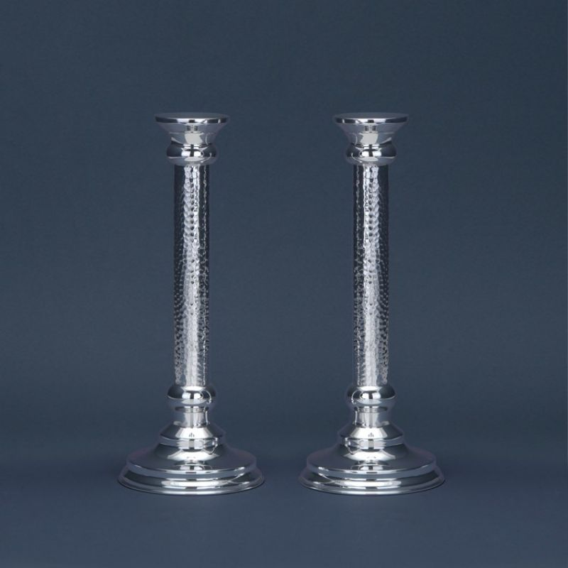Round Hammered Sterling Silver Candlesticks